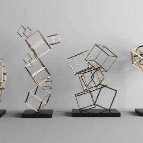 现代金属几何线条装饰摆件组合3D模型【ID:232115503】