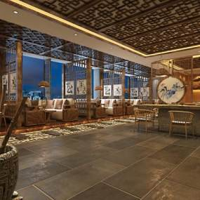新中式民宿酒店3D模型【ID:647053259】