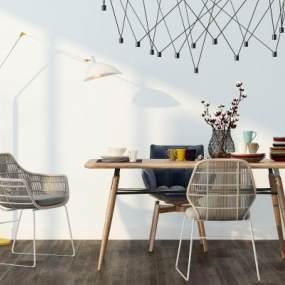 现代餐桌椅落地灯组合3D模型【ID:837132895】