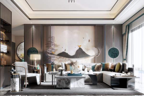 新中式客厅3D模型【ID:552354020】