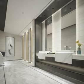 酒店公共卫生间 3D模型【ID:441329105】