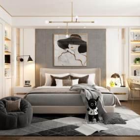 现代轻奢卧室3D模型【ID:535940255】