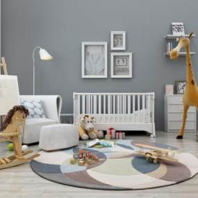 现代儿童玩具木马画板婴儿床组合3D模型【ID:330557413】