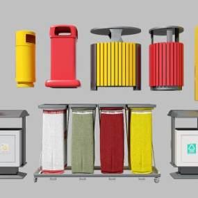 垃圾桶组合模型3D模型【ID:330426419】