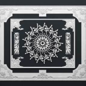 欧式柱子石膏线条角花组合3D模型【ID:330932412】