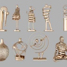 现代人物金属装饰品组合3D模型【ID:232811570】