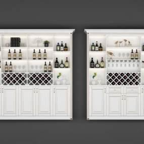 欧式简约酒柜3D模型【ID:634782259】