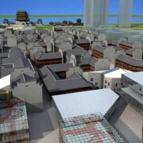中式建筑群鸟瞰图3D模型【ID:132494766】