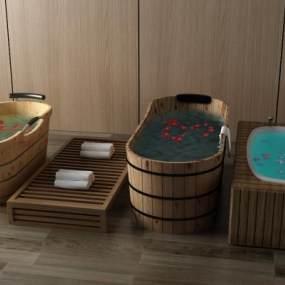 中式浴缸3D模型【ID:332174026】
