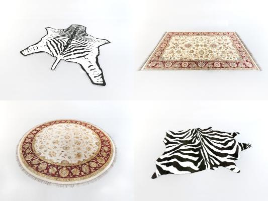 欧式简约地毯组合3D模型【ID:335015297】