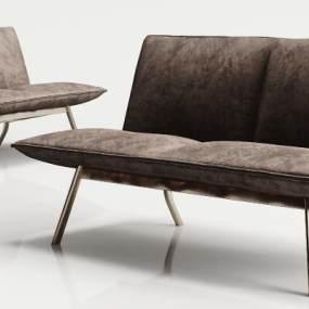 现代金属绒布单椅3D模型【ID:734647070】