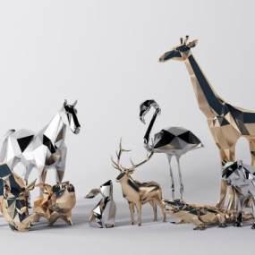 现代金属动物雕塑3D模型【ID:333384197】