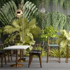 现代绿植墙饰3D模型【ID:246435707】