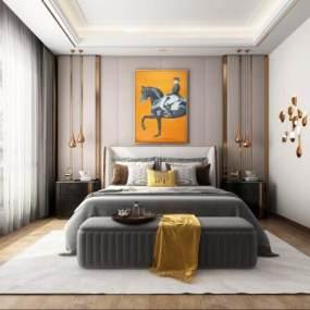 现代卧室书房3D模型【ID:537144239】