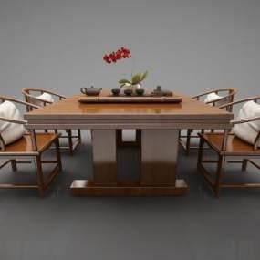 新中式风格餐桌3D模型【ID:844588899】