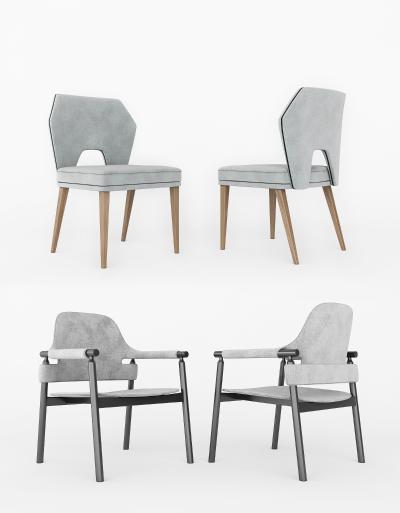 新中式餐椅休闲椅组合3D模型【ID:743076116】
