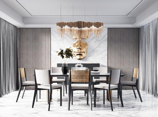 現代輕奢餐桌椅組合3D模型【ID:742118183】