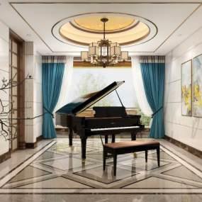 新中式钢琴房3D模型【ID:530879916】