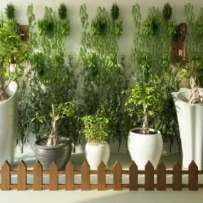 现代绿植墙盆景3D模型【ID:136186412】