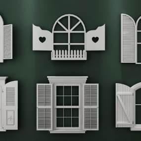 地中海窗户组合3D模型【ID:334745297】