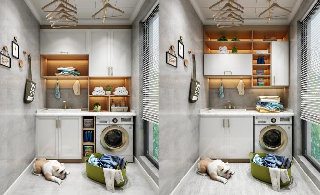 现代阳台洗衣机柜子组合