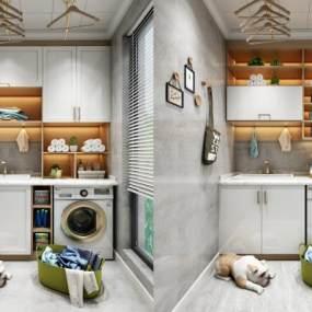 现代阳台洗衣机柜子组合3D模型【ID:130942868】
