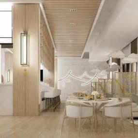 新中式餐厅3D模型【ID:644284260】