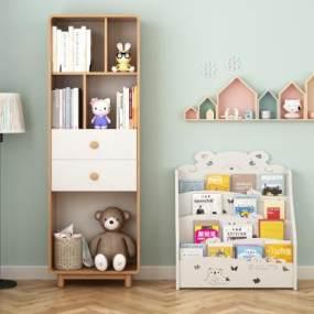 北欧实木儿童书柜3D模型【ID:153034584】