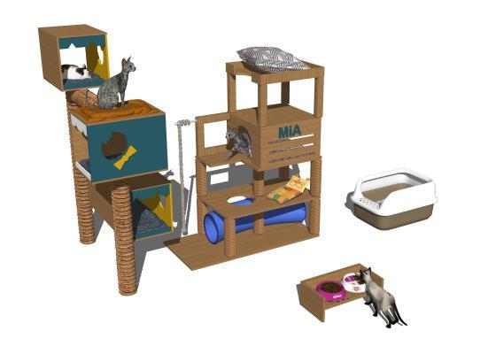 現代貓咪寵物用品1SU模型【ID:347765081】