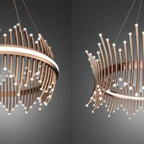 现代金属吊灯组合 3D模型【ID:740841891】