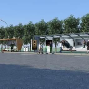 公交站台 3D模型【ID:940832986】