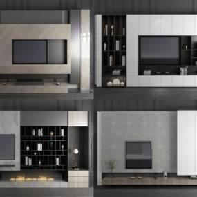 现代轻奢电视背景墙3D模型【ID:944625988】