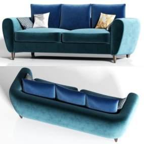 現代絨布多人沙發枕頭組合3D模型【ID:646921752】