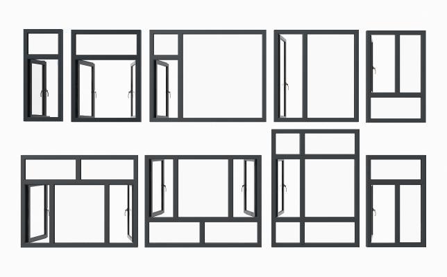 現代鋁合金窗組合3D模型【ID:350476217】