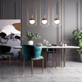 新中式轻奢餐桌椅组合3D模型【ID:845531898】