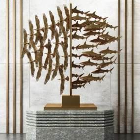 現代抽象飛鳥魚群玄關裝飾擺件3D模型【ID:343875022】