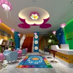 现代幼儿园大厅书桌椅柜子读物摆件3D模型【ID:930595635】