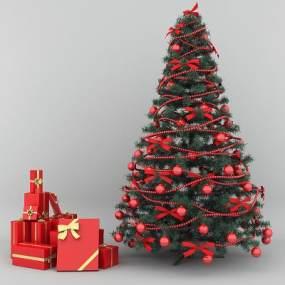 现代圣诞树圣诞礼盒3D模型【ID:230953510】