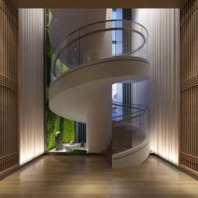 新中式楼梯 旋转楼梯 隔断3D模型【ID:333118551】