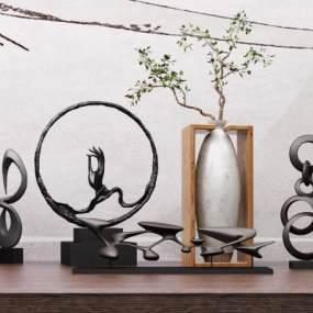 中式陶瓷花瓶装饰摆件组合3D模型【ID:332839133】