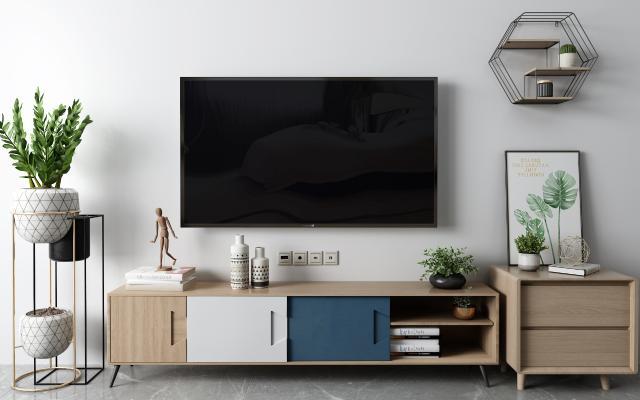 北欧电视柜3D模型【ID:950471932】