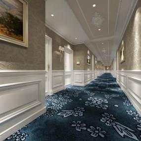 欧式酒店走廊3D模型【ID:733094427】