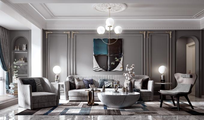 美式客厅 沙发组合 椅子 单人沙发 茶几 台灯 凳子 背景墙