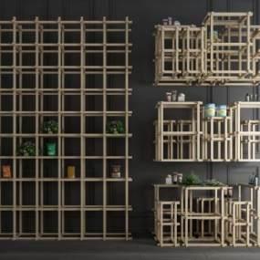 现代简约装饰架子组合3D模型【ID:142506129】