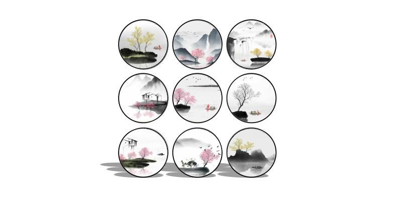 新中式禪意水墨裝飾畫SU模型【ID:947729005】