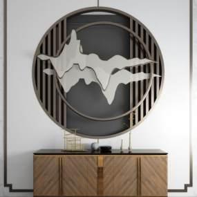 新中式玄关柜边柜端景台屏风背景墙组合 3D模型【ID:141391018】