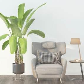 北欧单人沙发绿植台灯组合3D模型【ID:634912425】