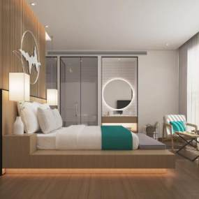 新中式酒店客房3D模型【ID:748110363】