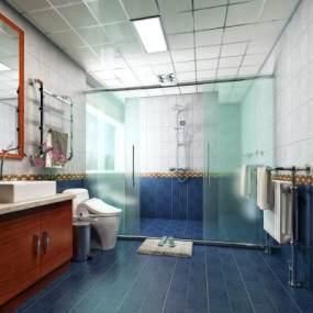 现代简约卫生间洗手间3D模型【ID:531669501】