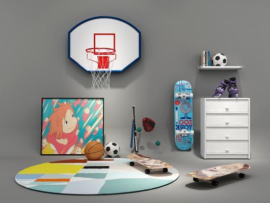 现代儿童滑板篮球滑冰鞋3D模型【ID:331975898】